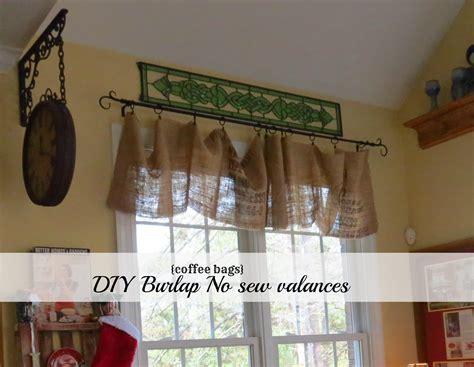 diy  sew burlap kitchen valancesmade  coffee bags