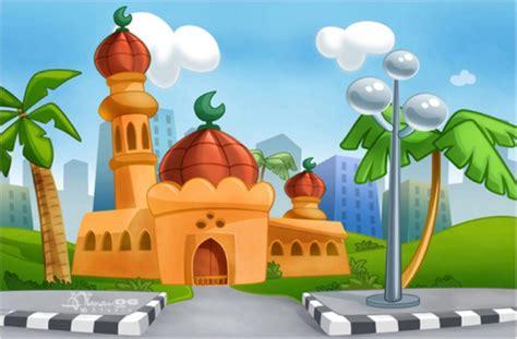 gambar animasi orang pergi ke masjid