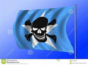 Waving Pirate Flag Combined With Somalian Flag Stock ...