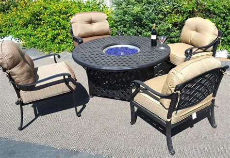 Outdoor Propane Fire Pit Table Pc Dining Set Patio