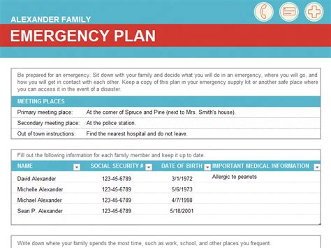 family emergency plan office templates