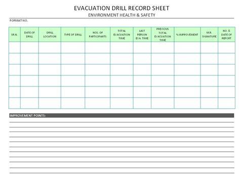 evacuation drill record sheet