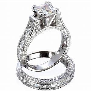 25ct princess cut simulated diamond wedding engagement With simulated diamond wedding ring sets