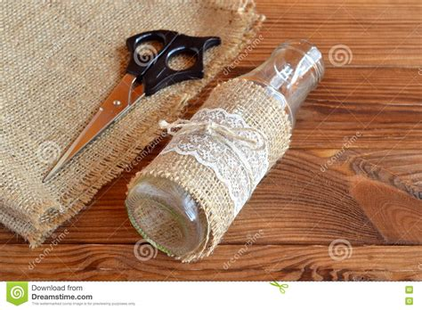 bottle l diy diy glass bottle scissors burlap handmade vase