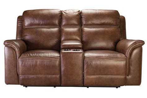 Recliner Leather Loveseat by Fargo Leather Power Reclining Loveseat With Console At