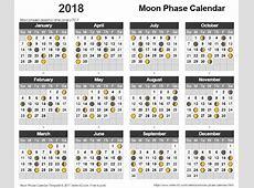 Moon Phase Calendar 2018 Lunar Calendar Template