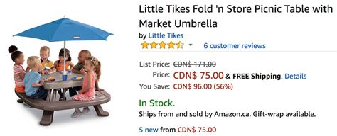 little tikes fold n store picnic table with market umbrella amazon canada deals save 56 on little tikes fold n