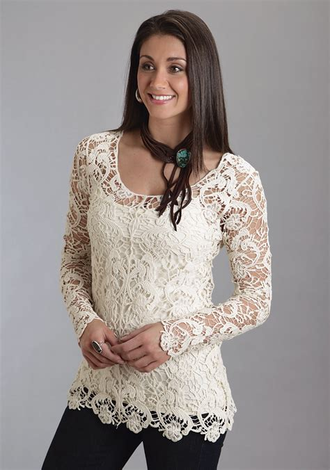 embroidery sleeve cardigan stetson 39 s crochet lace sleeve western tunic