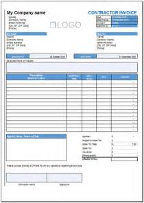 Contractor Invoice Template Excel Free Contractor Invoice Template