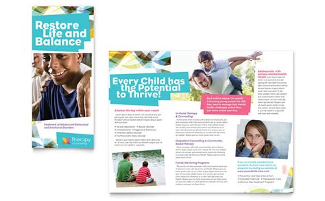 Free Mental Health Brochure Templates by Adolescent Counseling Tri Fold Brochure Template Word