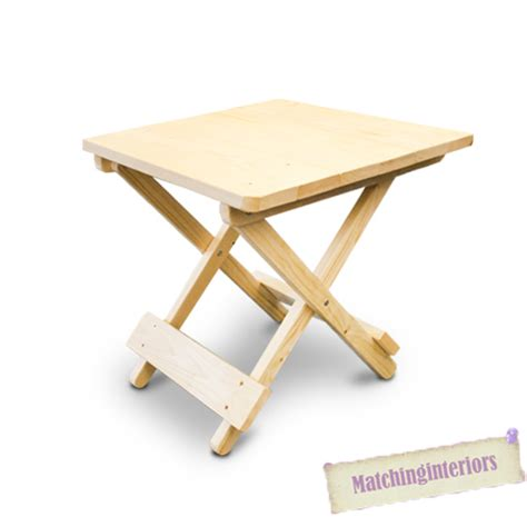 plain wooden side folding picnic cing table small