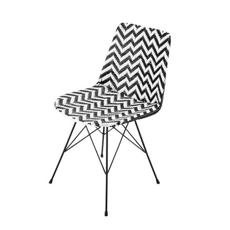 maisons du monde chaise wicker and metal chair in black white zigzag maisons