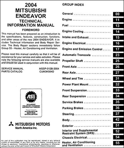 manual repair free 2006 mitsubishi endeavor interior lighting 2004 mitsubishi endeavor body manual original