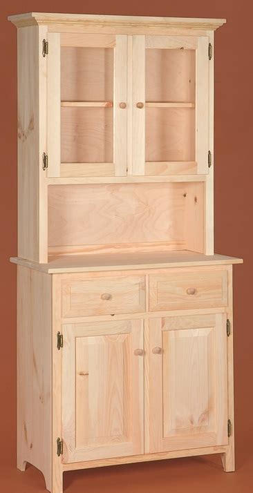 unfinished furniture hutch small primitive lancaster hutch and bottom stark wood