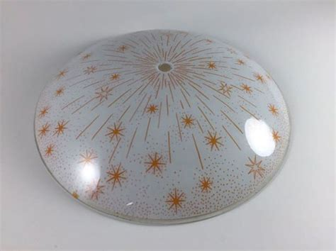 Glass Light Covers by Vintage Starburst Atomic Mid Century Light Fixture Retro