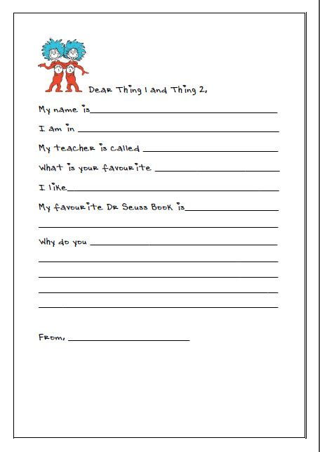 Dr. Seuss Hat Writing Template