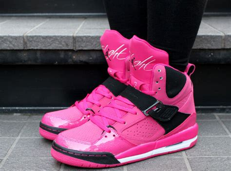 nike air jordan flight  high gs vivid pinkblack   girl size  shoes ebay