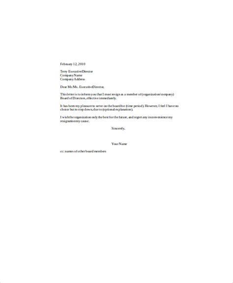 board resignation letter 5 sle board resignation letters sle templates