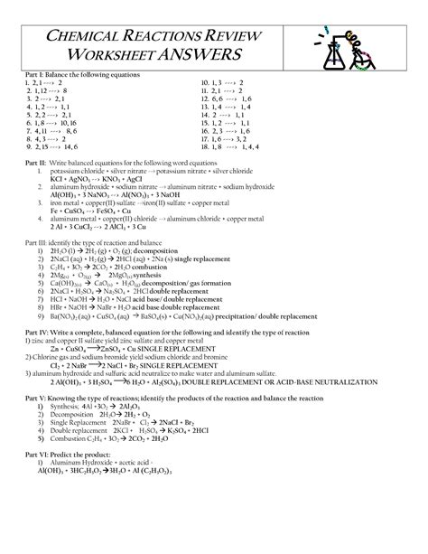 17 best images of types of chemical reactions worksheet