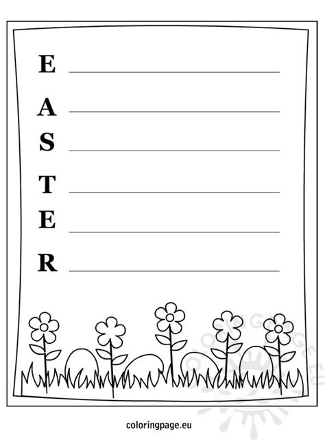 easter writing template coloring page