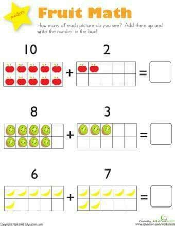 pin by afra on maths kg2 kindergarten addition