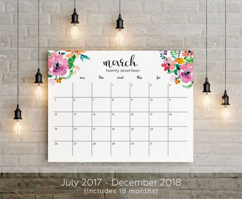 planner big wall calendar printable instant gift