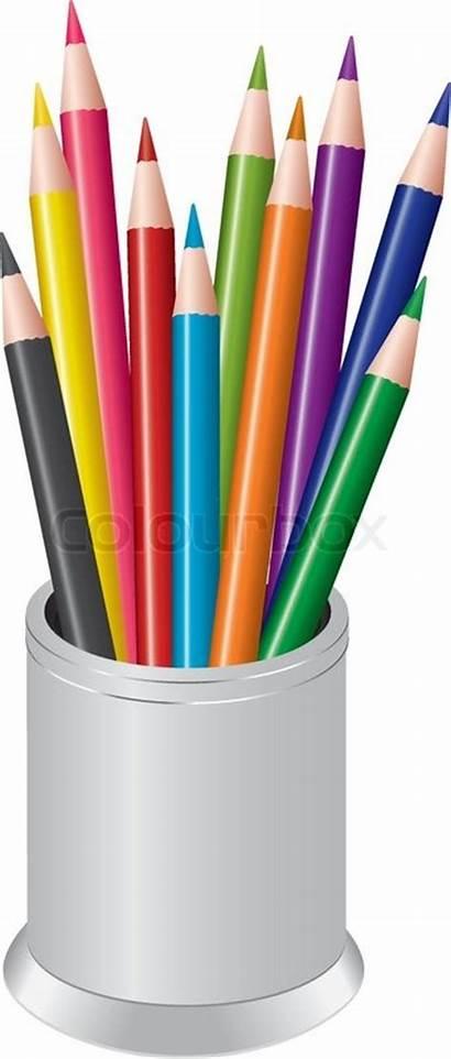 Pencils Cup Bunch Pen Colored Colourbox Supplier