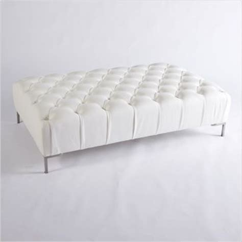 48 Inch Square Ottoman by Tufted Collection White Leather Tufted Ottoman Collection