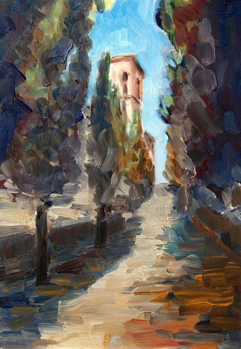 bild toskana kloster impressionismus oelmalerei von