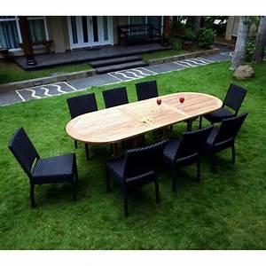 Salon Jardin Teck : salon de jardin en teck brut et 8 chaises r sine tress e noire ~ Teatrodelosmanantiales.com Idées de Décoration