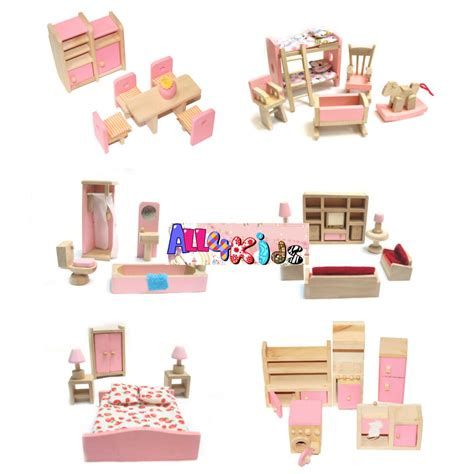 Dollhouse Furniture Set by Wooden Doll House Dollhouse Furniture Miniature 6 Rooms