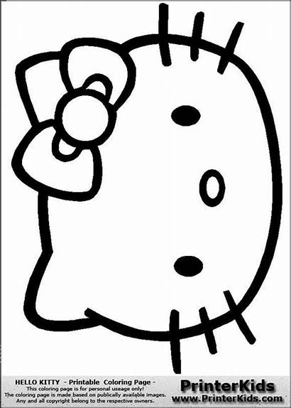 Kitty Hello Coloring Face Printable Pages Template