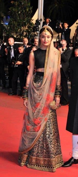 sharara dupatta draping black sabyasatchi lehenga with beaded skirt and