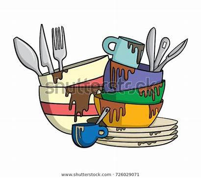 Dirty Dishes Cutlery Vector