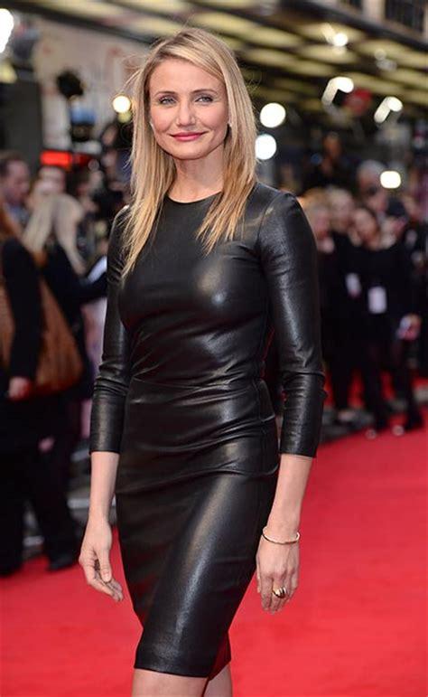 cameron diaz wows  leather dress    woman