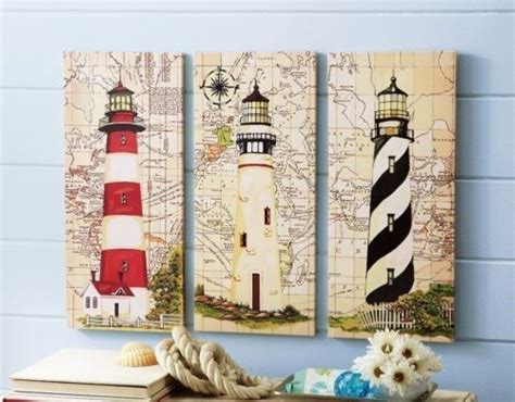 3 pc nautical lighthouse canvas wall art seaside ocean wooden wall decor seascapes