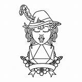 Elf Bard Twenty Dice Natural Roll Linework Tattoo Illustrations Vectors sketch template