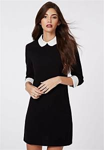 missguided robe droite a col claudine shayne noir et With robe col claudine noir