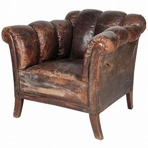 20th Century, Distressed Vertical-Tufted Leather Club ...
