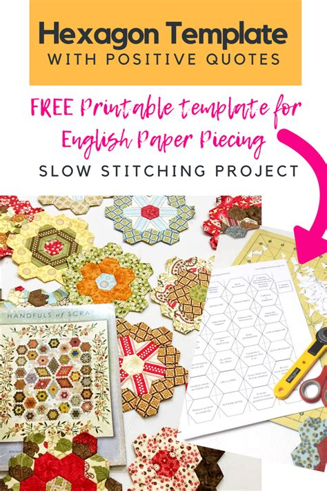 Free Printable Hexagon English Paper Piecing Template  The Little Mushroom Cap
