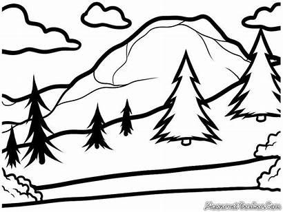 Gambar Pemandangan Mewarnai Alam Landscape Draw Drawing