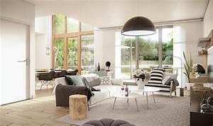 portes fenetres et trois maisons contemporaines design With tapis de gym avec le corner canapé scandinave