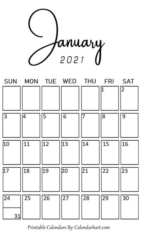cute  stylish  printable january  calendar