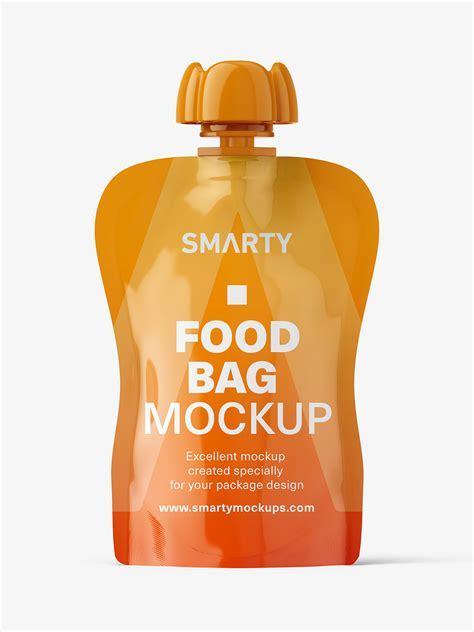 Pouch bag packaging free mockup. Glossy food pouch mockup - Smarty Mockups
