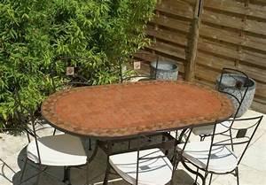 Table Mosaique Jardin : table jardin mosaique ovale 180cm terre cuite et losanges argile cuite table jardin mosa que ~ Teatrodelosmanantiales.com Idées de Décoration