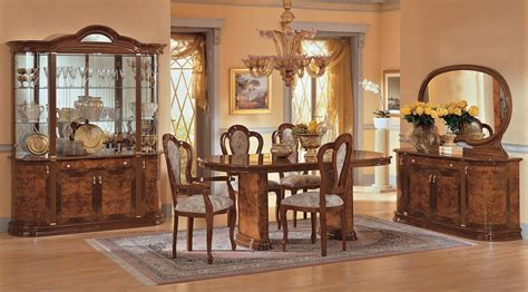 milady italian dining room set  brown lacquer finish