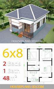 House, Design, 6x8, With, 2, Bedrooms, Hip, Roof