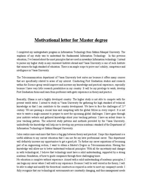 motivational letter  master degree docsharetips