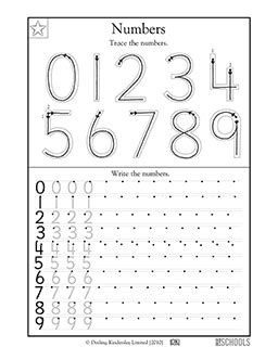 1st grade kindergarten math worksheets trace the numbers