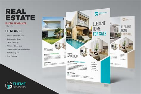 real estate template real estate business flyer template flyer templates creative market